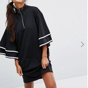 Monki Ruffle Sleeve ZIP up dress